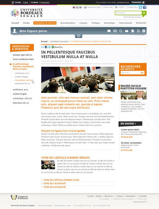 Page Université de Bordeaux 2 (Site étudiant)