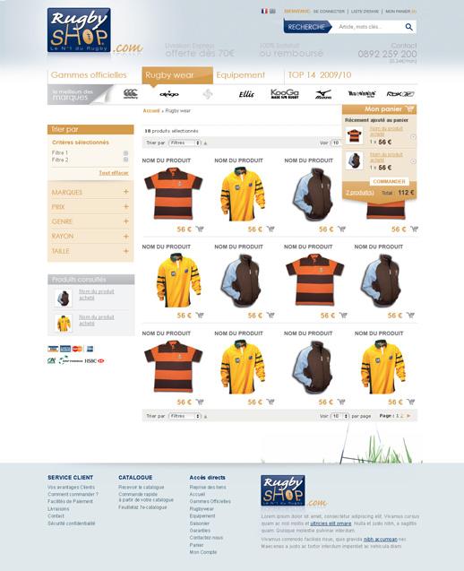 Listing produit RugbyShop 1° proposition