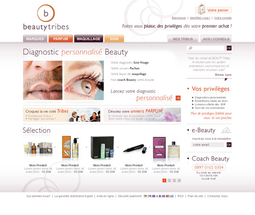 Page d'accueil BeautyTribes.com