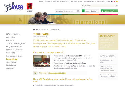 "Page ""Relations internationales"" INSA"