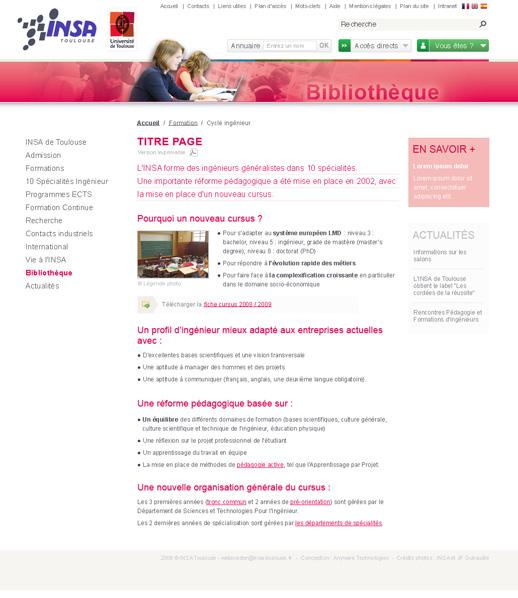 "Page ""Bibliothèque"" INSA"