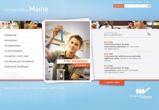 Page d'accueil du site Internet de l'université du maine