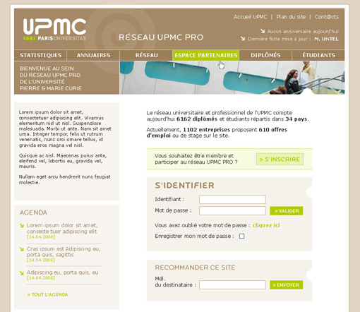 page accueil UPMC Pro